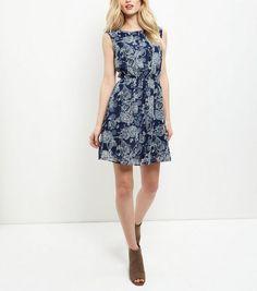 Apricot Blue Rose Print Sleeveless Dress | New Look