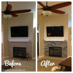 Updating a fireplace with airstone (fake 'stacked stone')