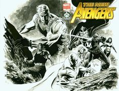 This is an AWESOME Sketch Cover of New Avengers done for the Hero Initiative Fund Raiser. Steve Epting is one of my favorite Avengers Artists! Garcia Lopez, Hank Pym, Joe Kubert, John Buscema, Comic Books Art, Book Art, New Avengers, Cool Sketches, Scarlet Witch
