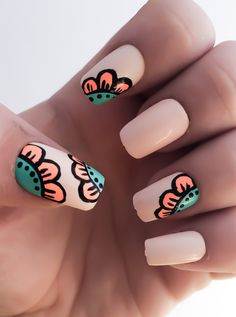 Hey, I found this really awesome Etsy listing at https://www.etsy.com/listing/229078611/flower-fake-nails-nude-nail-polish-coral