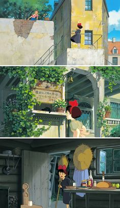 Cenários de Kazuo Oga para o estúdio Ghibli Art Studio Ghibli, Studio Ghibli Movies, Kiki Delivery, Kiki's Delivery Service, Hayao Miyazaki, Totoro, Laurence Anyways, Storyboard, Bg Design