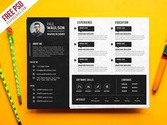 Free Psd Creative Horizontal Cv Resume Template Psd Graphic Design Resume Creative Resume Templates Graphic Design Cv