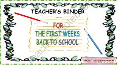 Teachers  Binder for the First Weeks Back to School from SisterBBB on TeachersNotebook.com -  (44 pages)  - Teacher's Binder for the First Weeks Back to School