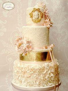 Lace and rose petals wedding cake Bristol, Pretty Amazing Cakes, Wedding Cakes Bristol