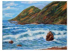 Original Painting, Oregon Coast, Impressionism Oil Land and Seascape
