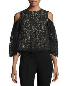 VILSHENKO 3/4-Sleeve Cold-Shoulder Lace Top, Black. #vilshenko #cloth #