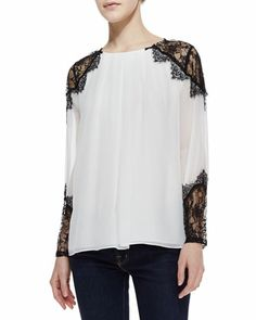 Danyelle Lace/Silk Blouse by Alice + Olivia at Neiman Marcus.