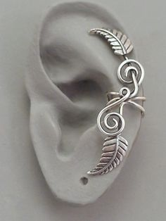 Sterling Leaf EAR CUFF  TENDRILS   Silver by SunnySkiesStudio, $39.50