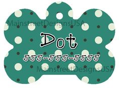 Monogram Personalized Dog Pet ID Tag Name Polka dot Blue and White Pattern Pet Accessory Supply Dog Lover Gift 1 by MainStreetDesignsUSA on Etsy https://www.etsy.com/listing/479806680/monogram-personalized-dog-pet-id-tag