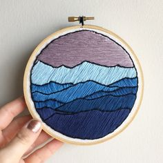 Mountains at Dusk Landscape - Contemporary Embroidery Hoop Art Wall Hanging - Purple and Blue Decor
