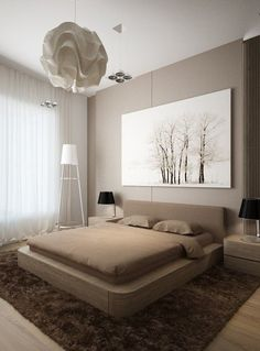 The popularity of minimalist home design is no doubt, especially with a monochrome color palette that peminatnya more and more day. Similarly, the design of a minimalist bedroom. The bedroom which is…More Modern Bedroom Design, Master Bedroom Design, Modern House Design, Bed Design, Master Bedrooms, Bedroom Designs, Contemporary Bedroom Decor, Neutral Bedrooms, Bedroom Layouts