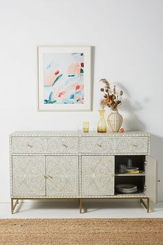 Scroll Vine Inlay Buffet by Anthropologie in Grey Size: All, Storage Hanging Furniture, Unique Furniture, Living Room Furniture, Home Furniture, Furniture Design, Furniture Ideas, Furniture Makeover, Classic Furniture, Furniture Stores