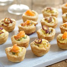 Perfect for nibbles or as a starter, try this recipe for mini savoury tarts with a smoked salmon and dill filling and garnished with chopped herbs.