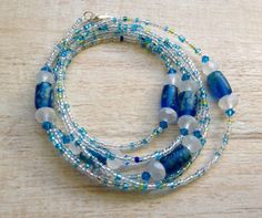 Necklace with Blue Green and White Glass by BeachDaisyJewelry, $12.00