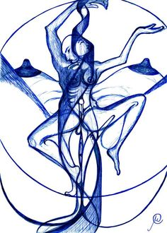 Ardhanari Dance - Painting by Manu Ananth in Pen  Inks 2008-2012 at touchtalent 78778
