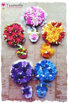 Магнит на холодильник топиарии из искусственных цветов от Алены Тихоновой | Floral topiary from Alena Tikhonova #топиариитихонова #handmade #decor #рукоделие #топиарий