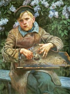 Nikolai Bogdanov-Belsky (Russian 1868–1945) [Realism, Impressionism] Young Musician, 1920.