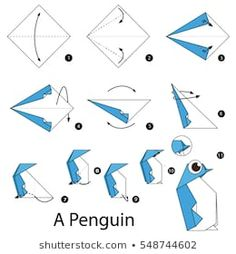 Drawing Step By Step Step by step instructions how to make origami A Penguin. Diy Origami Wallet, Origami Yoda, Origami Dragon, Origami Fish, Origami Bookmark, Origami Instructions, Step By Step Instructions, Origami Umbrella, Easy Origami Animals