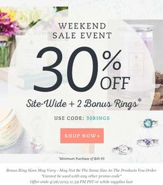 I can't even believe this deal! 30% OFF THE ENTIRE SITE PLUS TWO BONUS RINGS!!!!! How can you pass that deal up?? I sure won't! Sign up on my site for FREE @ www.jewelscent.com/young and browse all of our products and scents! We have candles, aroma beads, wax tarts, body scrubs and soaps! All include a hidden jewel valued between $10-$7,500! Our products make the absolute PERFECT gift or go ahead and treat yourself!