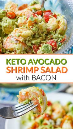 Keto Avocado Shrimp Salad with Bacon - a super easy and decadent low carb summer salad! Only 5 minutes to make. Keto Avocado Shrimp Salad with Bacon - a super easy and decadent low carb summer salad! Only 5 minutes to make. Low Carb Chicken Recipes, Healthy Low Carb Recipes, Low Carb Dinner Recipes, Ketogenic Recipes, Keto Dinner, Diet Recipes, Cooking Recipes, Ketogenic Diet, Keto Chicken