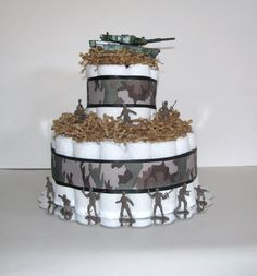 Army Diaper Cake by JennyJsDiaperCakes on Etsy, $45.00
