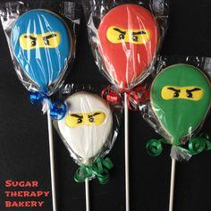Lego Ninjago Balloon Cookie party favours! Happy 5th Birthday Shea!