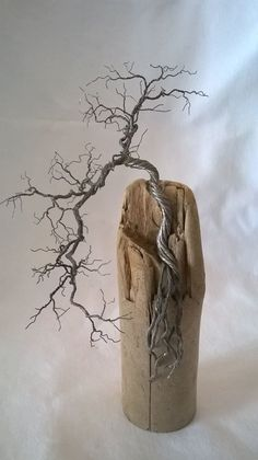 Dimensions: x 9 cm Payment only is accepted via PayPa Driftwood Projects, Driftwood Art, Driftwood Wreath, Bonsai, Wire Tree Sculpture, Sculpture Art, Stylo 3d, Wire Trees, Scrap Metal Art