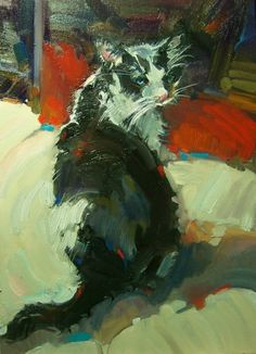 """Red Carpet"" Kim Roberti's 5x7 Contemporary Realism Figure Portrait Pet in Oil., painting by artist Kim Roberti"