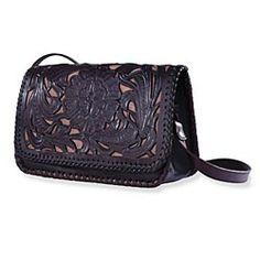 Hand-Tooled Leather Chrysanthemum Handbag