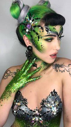 Stunning & Creative Makeup Look Fx Makeup, Beauty Makeup, Hair Makeup, Body Makeup, Queen Makeup, Hair Beauty, Make Up Looks, Sexy Make-up, Skin Wars