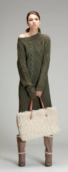Olive cable knit sweater, fluffy purse, boots
