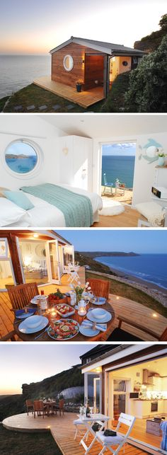 Whitsand Bay, Cornwall, UK. Set in a cliff top location with a bird's eye view of Whitsand Bay and the surrounding coast, The Edge is the perfect luxury self-catering beach hut. A modern take on a traditional Cornish beach hut, there's a fresh flavour to the luxury interiors of this eco-friendly cedar-clad creation.