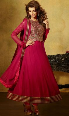 Wine Embroidered Faux Georgette Long Anarkali Suit Price: Usa Dollar $111, British UK Pound £65, Euro82, Canada CA$121 , Indian Rs5994.