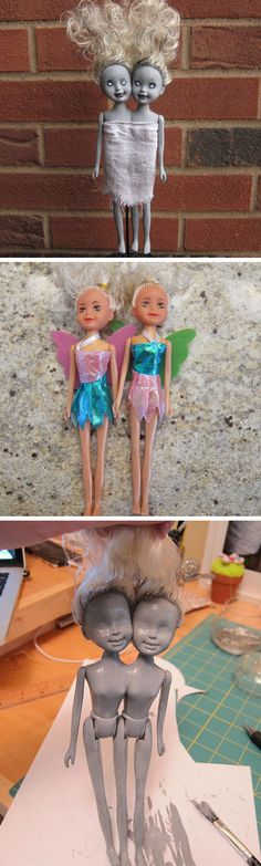 Zombie Siamese Twin Dolls | Click Pic for 27 DIY Halloween Decorating Ideas for Kids | Easy Halloween Party Decor Ideas for Kids