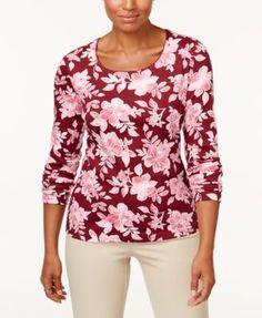 Karen Scott Print Long-Sleeve T-Shirt, Created for Macy's - Tan/Beige XXL
