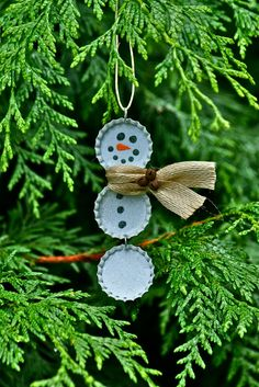 Vintage Bottle Cap Bottlecap Snowman Christmas Ornament - Upcycled Recycled - Ready to Ship -
