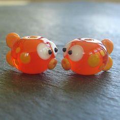 Lampwork beads 630 Fish Pair 2 Orange Fish by beadgoodies on Etsy