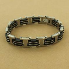 Stainless Steel Black Rubber Interlace Link Bracelet $69.50