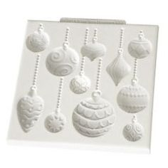 Katy Sue CHRISTMAS BAUBLES design mat silicone icing mould - cake cupcake decorating sugarpaste sugarcraft - from only @ Cake Stuff Christmas Baubles, Christmas Themes, Christmas Cakes, Holiday Ideas, Tim Holtz, The Craft Company, Biscuit, Purple Cupcakes, Rolling Fondant