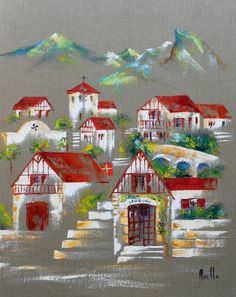 Tableau Le Village Basque de Lauburu @peintures-axelle-bosler : Peintures par peintures-axelle-bosler