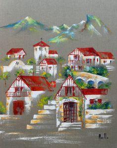 "Tableau""Le Village Basque de Lauburu"" @peintures-axelle-bosler : Peintures par peintures-axelle-bosler"