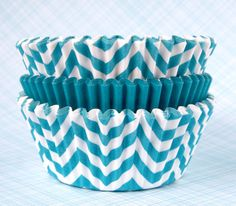 Aqua Blue Mix Cupcake Liners  Teal Chevron and by sweetestelle, $3.75