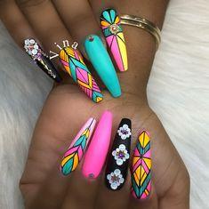 Gel paint and matte topcoat V-Chen at Shopnailszone.com . Inspired by @naild_by_nina #coffinnails #nailshop#nailstagram #vinanailshouston…