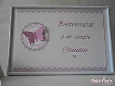 Cartel de bienvenidos e invitaciones Mariposa