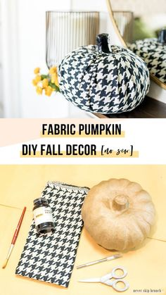 DIY Fabric Pumpkin Decor [No Sew] - List of the most creative DIY and Crafts Diy Projects Arts And Crafts, Diy Home Decor Projects, Fall Crafts, Modern Fall Decor, Fall Home Decor, Fabric Pumpkins, Diy Pumpkin, Fabric Squares, Pumpkin Decorating
