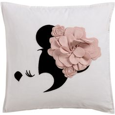 Floral Flourish Pillow, Petal ❤ liked on Polyvore featuring home, home decor, throw pillows, flower stem, floral home decor, embroidered throw pillows, floral throw pillows and pink home decor