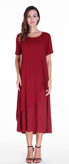 US$19.59 Gracila Solid Lace Patchwork Short Sleeve Irregular Women Dresses