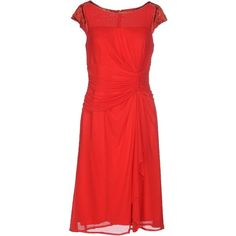 Clips Knee-length Dress ($378) ❤ liked on Polyvore featuring dresses, red, red knee length cocktail dress, beaded cocktail dress, red cap sleeve dress, red ruffle dress and short sleeve dress