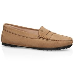 WHY they so expensive?... :( City Gommino loafers in elegant suede, with exposed hand-made stitching, front bar, Tod's hot-stamped monogram and iconic rubber outsole with embossed pebbles.