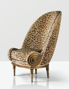 Fauteuil Nautile Armchair, 1913, by Paul Iribe - Carved Walnut Upholstered Armchair - Signed and Dated - (Paul Iribe 1883 - 1935)